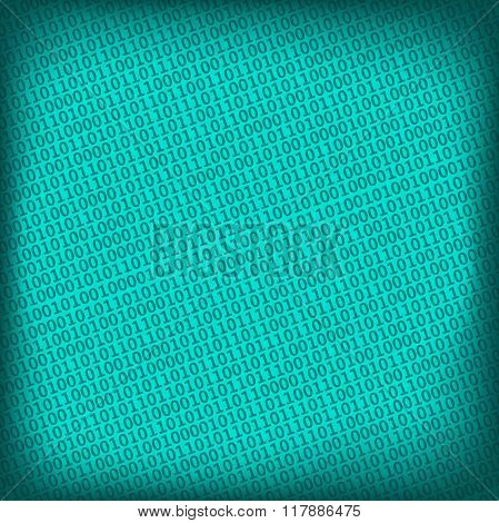 Blue Background With Digital Binary Matrix