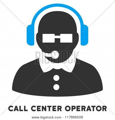 Female Operator Flat Icon with Caption