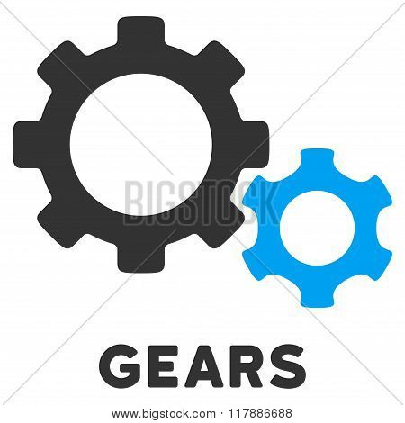 Gears Flat Icon with Caption