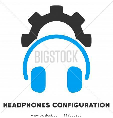Headphones Configuration Flat Icon with Caption