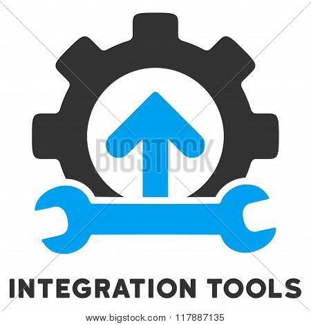Integration Tools Flat Icon with Caption