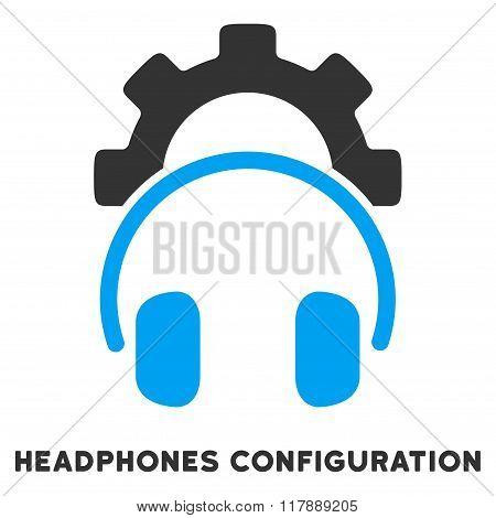 Headphones Configuration Flat Icon with Caption