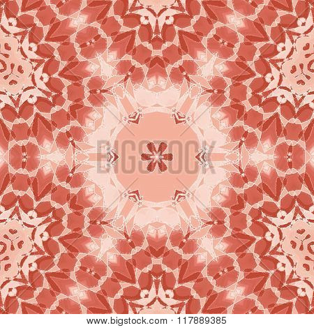 Seamless floral circle ornament pink red brown