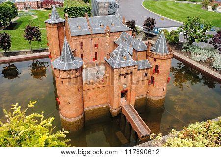 Scale model replica of a Dutch medieval castle
