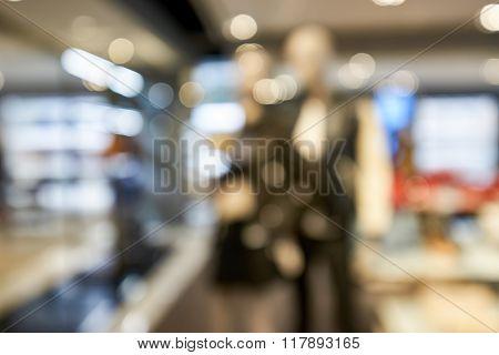 Defocused photo of luxury fashion store