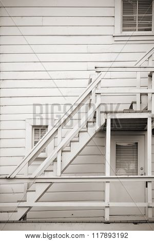 Wooden outside staircase