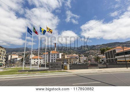 Funchal, Madeira - November 12: A Collection Of Flags On The Funchal Waterfront Pictured On June 25,
