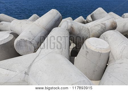 Concrete Block Breakwater Hit By The Atlantic Waves