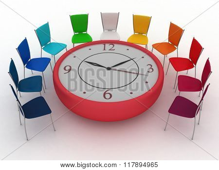 Group of office chairs at a table as an clock put by a half-round