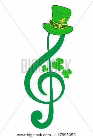 Treble clef of a St. Patrick's Day