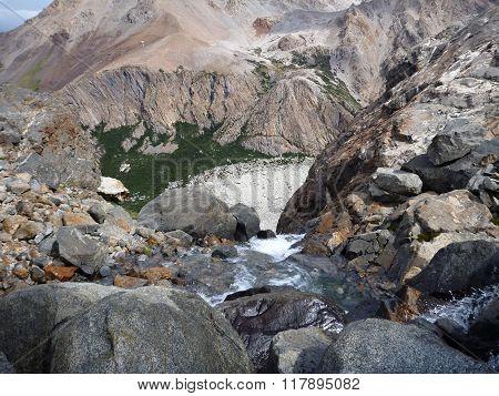 Stream In Los Glaciares Park In Patagonia In Argentina