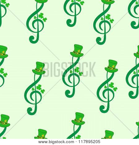 Seamless treble clefs with a shamrock