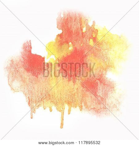 ink abstract yellow Red watercolor blot splash watercolour isolated on white background
