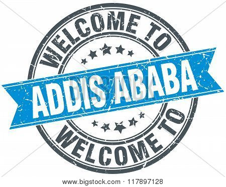 Welcome To Addis Ababa Blue Round Vintage Stamp
