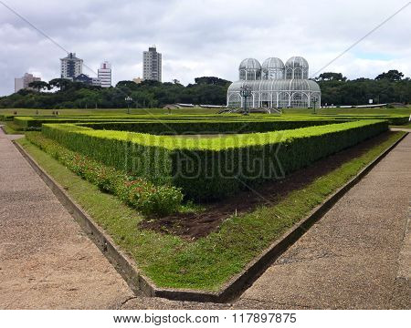 White Structure Of A Botanical Garden In A Park In Curitiba