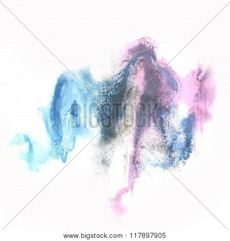 ink abstract watercolor blot blue purple splash watercolour isolated on white background