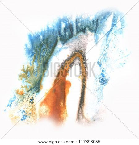 ink abstract watercolor blot splash blue brown watercolour isolated on white background