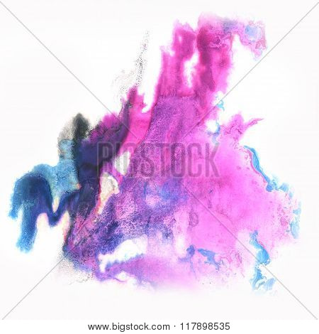 ink abstract watercolor blot splash blue purple watercolour isolated on white background