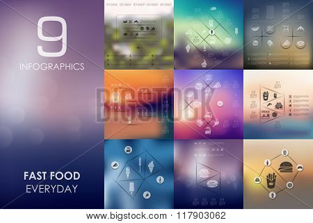 fast food infographic with unfocused background