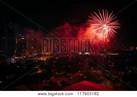 Chinese New Year Fireworks Over Makati At Night, In Metro Manila, The Philippines.