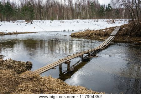 Landscape With Wooden Bridge.