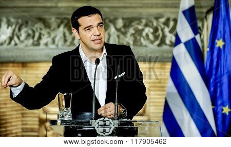 Greek Prime Minister Alexis Tsipras At A Press Conference After A Meeting With Francois Hollande Dur