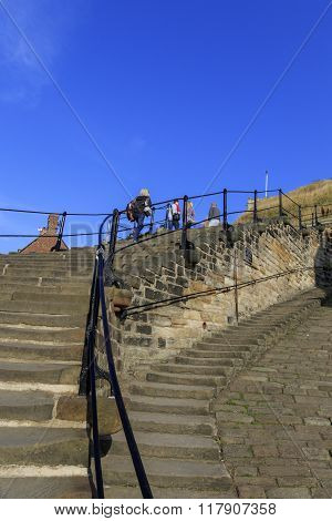 Whitby North Yorkshire UK 11th September 2015 people walking the 199 steps whitby