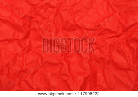 crumpled wrinkled red paper texture for background