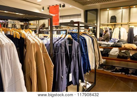 HONG KONG - JANUARY 27, 2016: interior of Zara store at Elements Shopping Mall. Zara is a Spanish clothing and accessories retailer based in Arteixo, Galicia