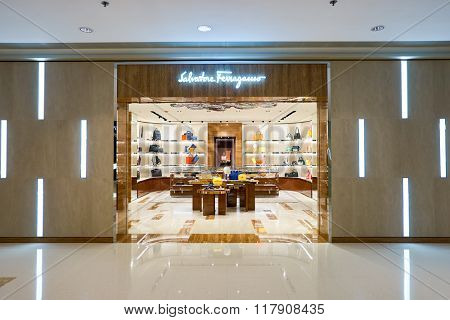 HONG KONG - JANUARY 27, 2016:entry way of Salvatore Ferragamo store at Elements Shopping Mall. Elements is a large shopping mall located on 1 Austin Road West, Tsim Sha Tsui, Kowloon, Hong Kong