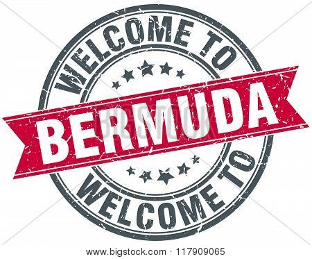 welcome to Bermuda red round vintage stamp