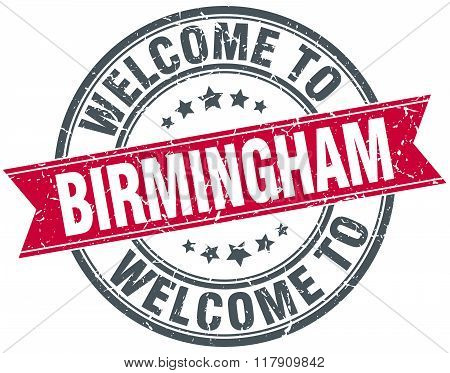 welcome to Birmingham red round vintage stamp