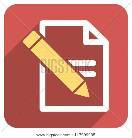 Edit Records Flat Rounded Square Icon with Long Shadow