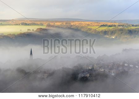 Foggy day in Halifax West Yorkshire UK