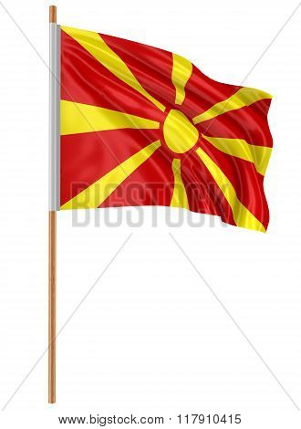 3D Macedonian flag with fabric surface texture. White background.