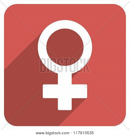Female Symbol Flat Rounded Square Icon with Long Shadow