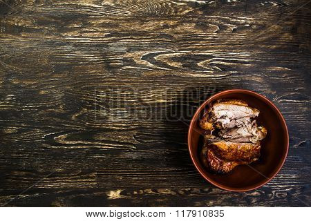 Still Life With Grilled Meat Of Turkey