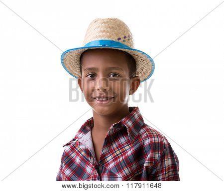 Brazilian boy wearing costume for Brazilian Junina Party (Festa Junina)