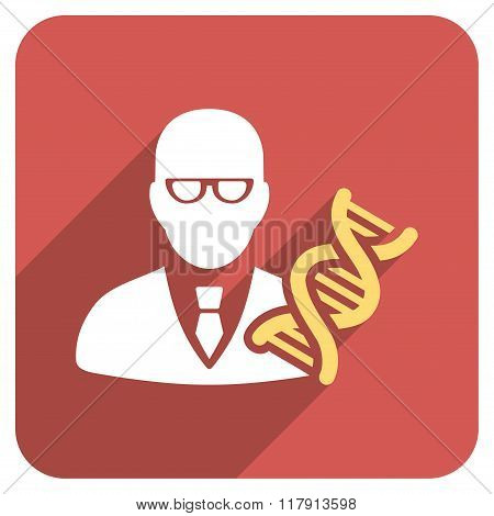 Genetic Engineer Flat Rounded Square Icon With Long Shadow