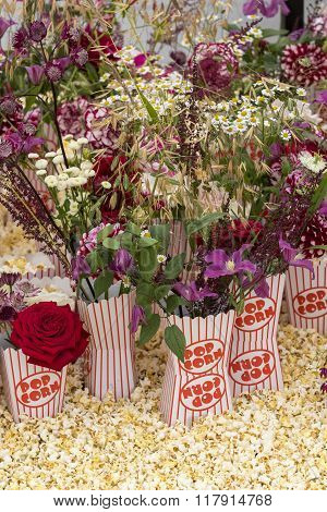 A beautiful Popcorn Flower arrangement close up