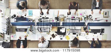 Analysis Aerial View Business Team Wireless Work Concept