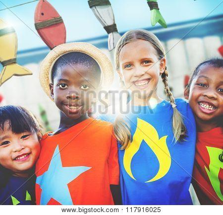Diversity Children Smiling Summer Happy Team Concept