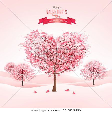 Pink heart-shaped sakura trees. Valentine's day