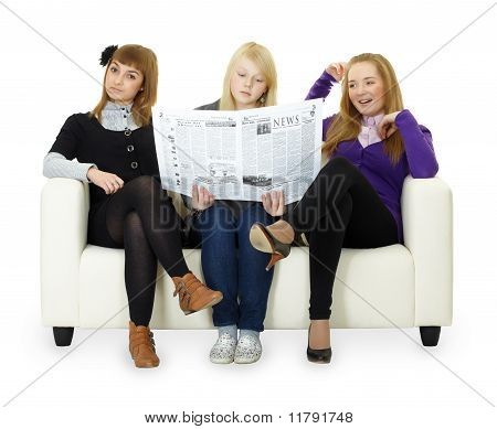 Funny Girl Teenagers Read Newspaper