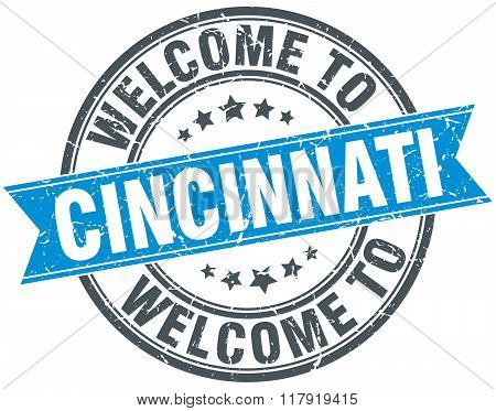 welcome to Cincinnati blue round vintage stamp