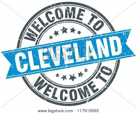welcome to Cleveland blue round vintage stamp