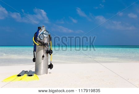 Scuba diving gear on beach