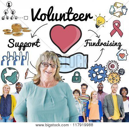 Volunteer Voluntary Volunteering Aid Assisstant Concept