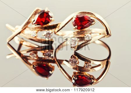 Gold Earrings With Rubies And Alexandrites