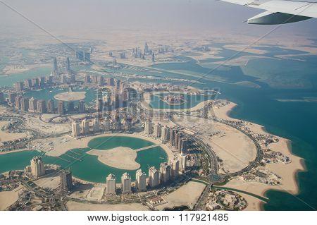Flying over Qatar, Doha